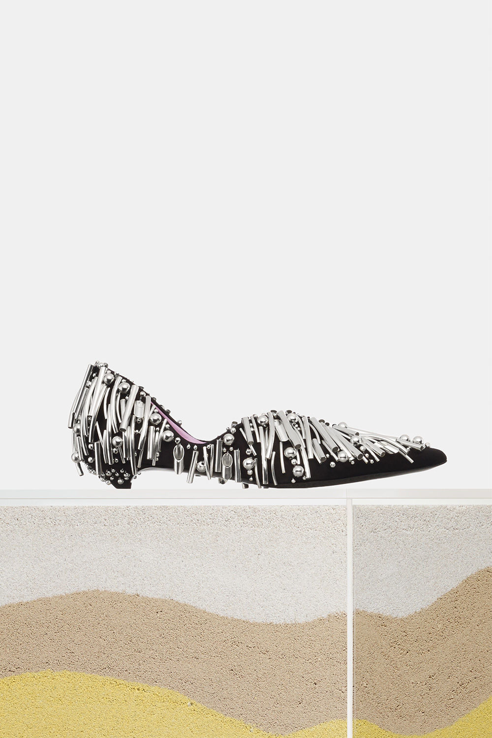 proenza schouler spring 2018 black and silver embroidered low heel
