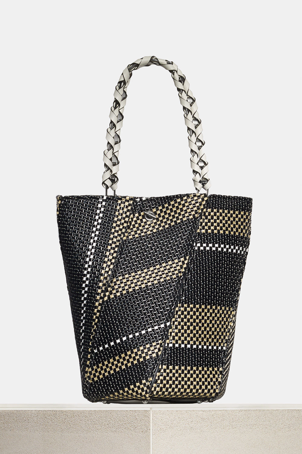 proenza schouler spring 2018 black white ecru woven raffia medium hex bucket bag