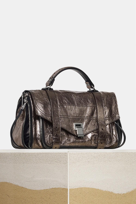 proenza schouler spring 2018 dark silver metallic paper leather zip ps1+ medium bag