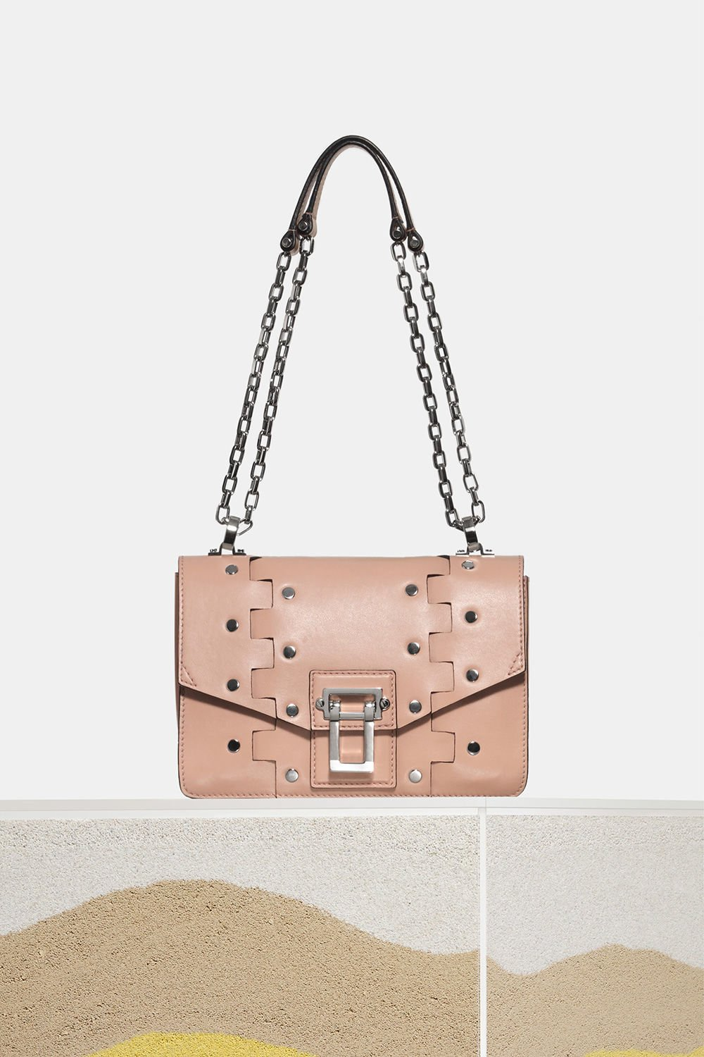 proenza schouler spring 2018 deep blush studded hinged hava chain shoulder bag