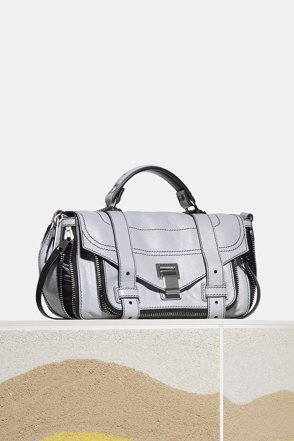 proenza schouler spring 2018 dove grey paper leather zip ps1+ tiny bag