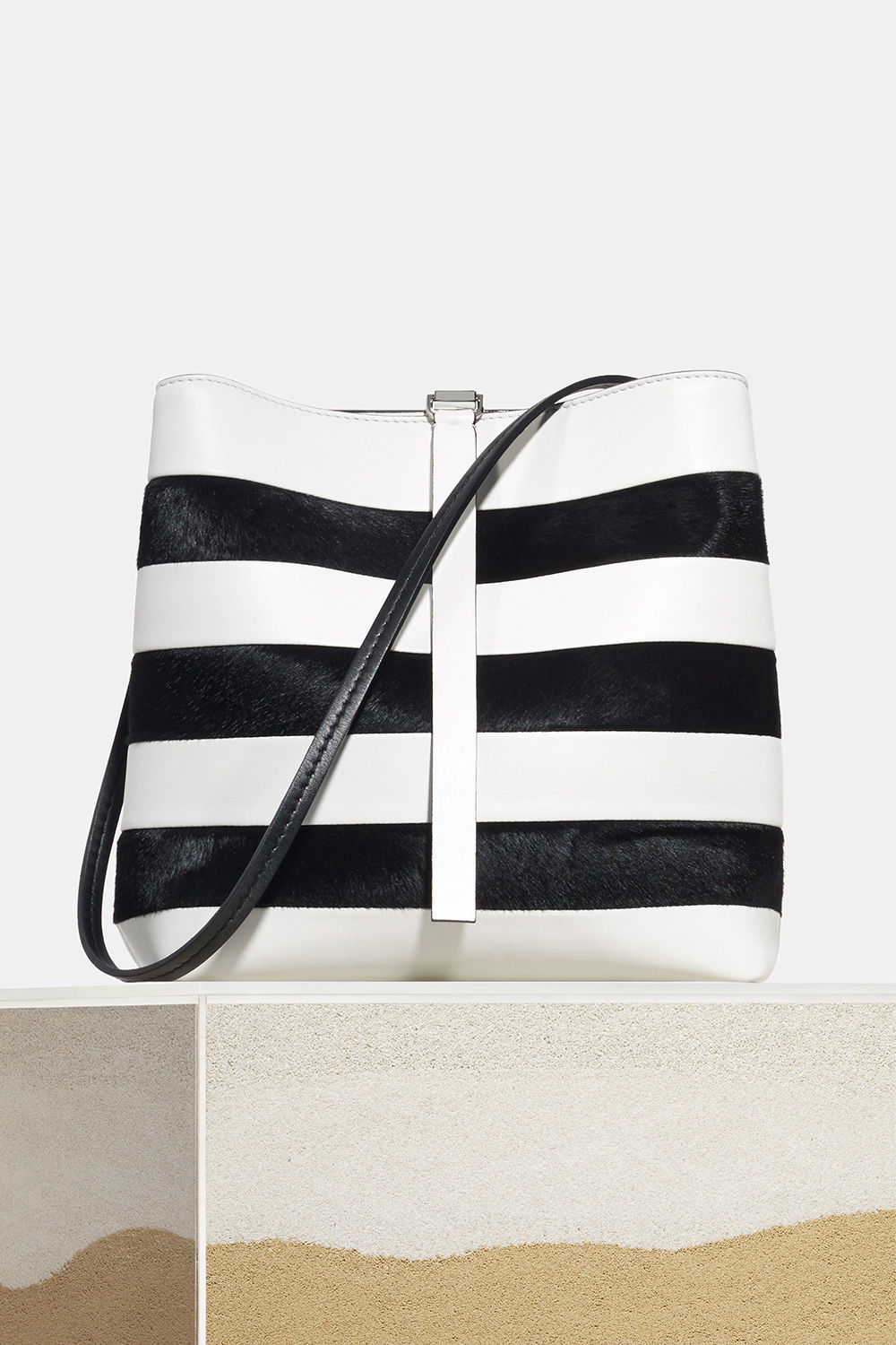 proenza schouler spring 2018 optic white black patchwork stripe frame shoulder bag