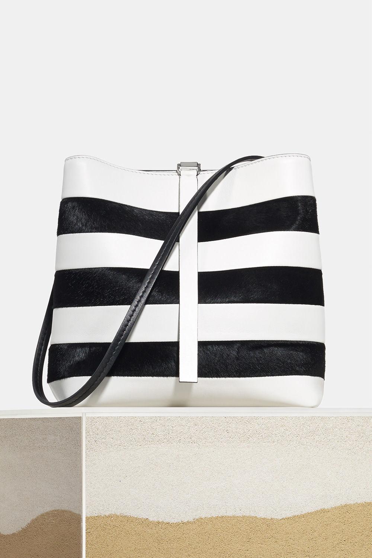 proenza schouler spring 2018 optic white black patchwork stripe frame shoulder bag