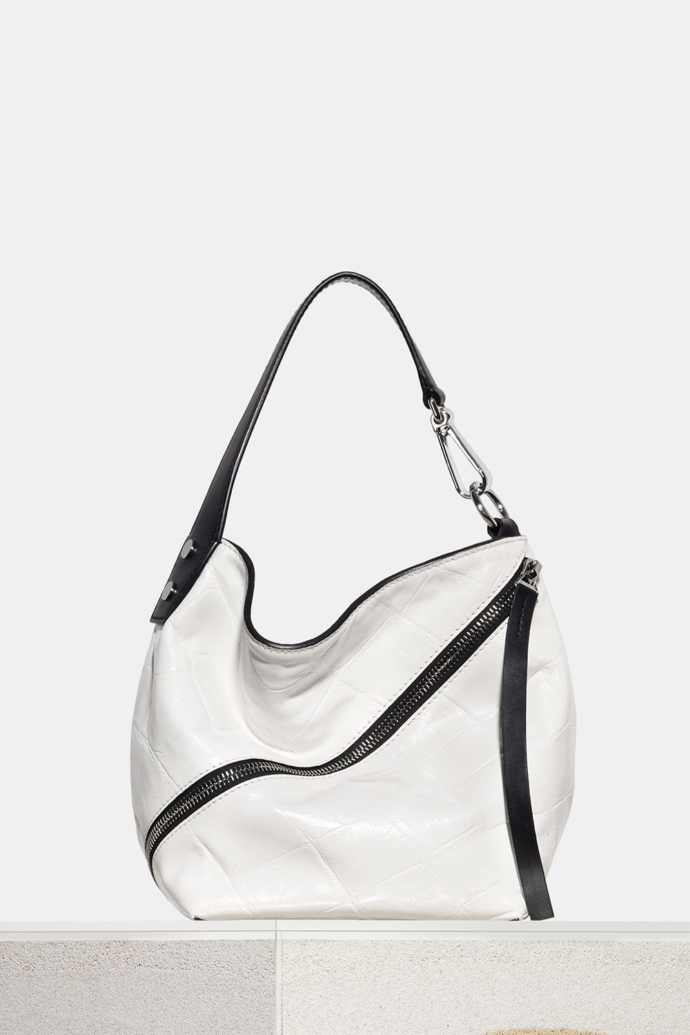 proenza schouler spring 2018 optic white embossed giant croc small zip hobo