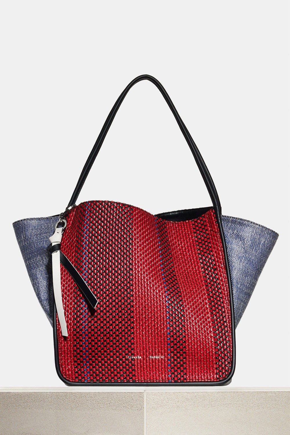 proenza schouler spring 2018 red and blue mixed woven extra large tote bag