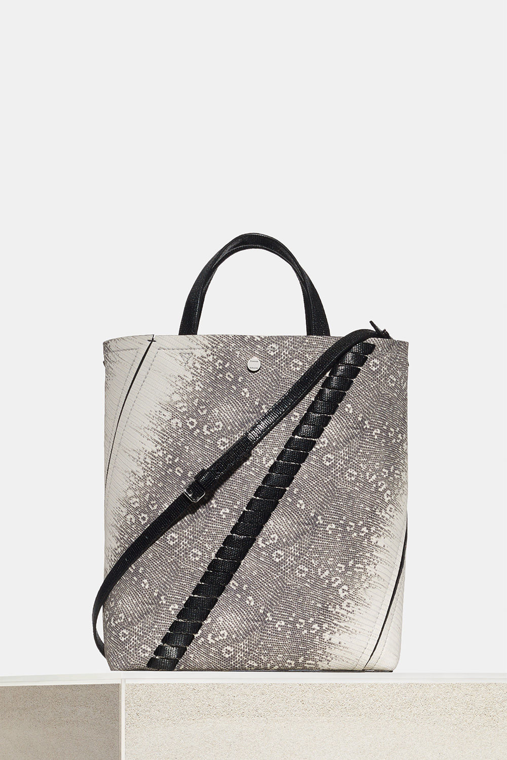 proenza schouler spring 2018 roccia and black embossed lizard hex tote bag